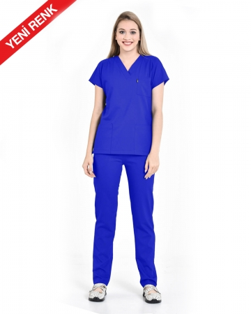 Kadın Premium Seri Relax Saks Mavisi Yarasa Kol Doktor ve Hemşire Forması Takımı