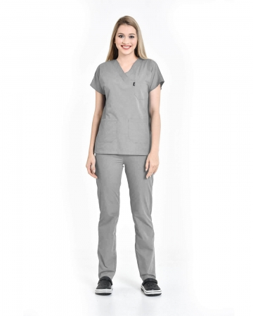 Kadın Outlet Terrycotton V Yaka Yarasa Kol Gri Doktor ve Hemşire Forması Takımı