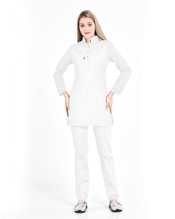 Tesettür Fermuarlı Beyaz Alpaka Kumaş Takım
