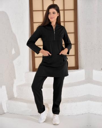Tesettür Fermuarlı Doktor Hemşire Forması Siyah Takım Premium Likralı Seri Relax